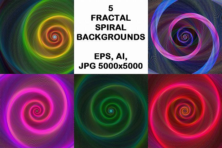 5 Fractal Spiral Backgrounds AI, EPS, JPG 5000x5000