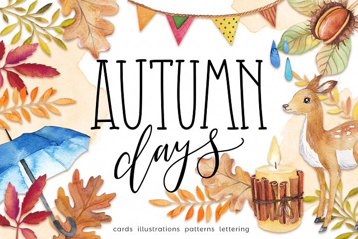 Autumn days - mood watercolor bundle
