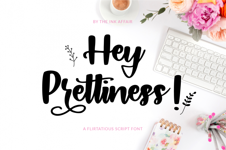 Hey Prettiness! Font & Bonus Vectors