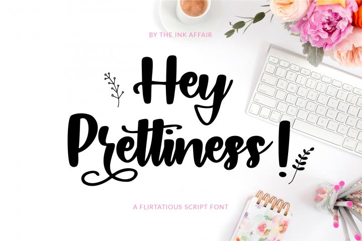 Hey Prettiness! Font & Bonus Vectors