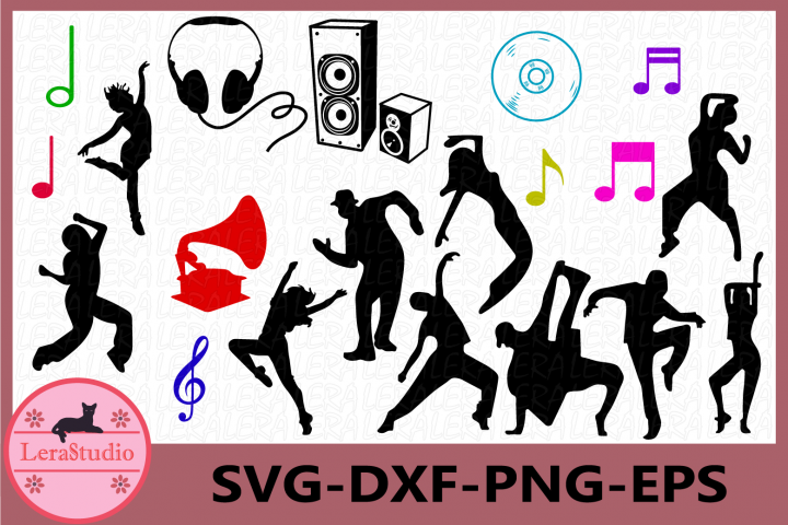 Music Svg, Dance SVG Files, Dancing Silhouette, Notes Vector