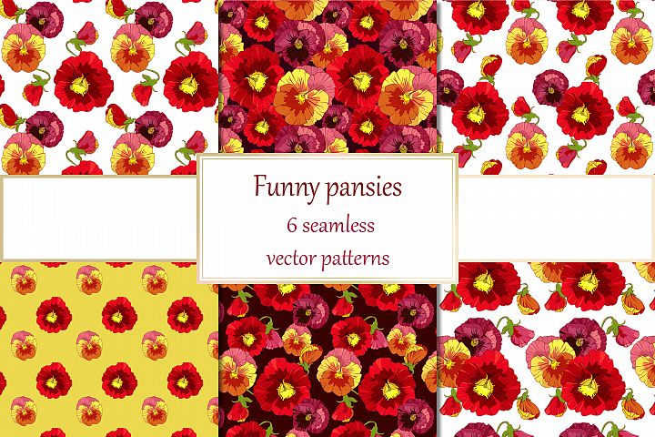 Vector red pansies, 6 floral seamless patterns