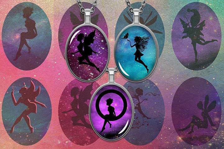 Fairies Silhouettes,Digital Printable Oval Images,Silhouette