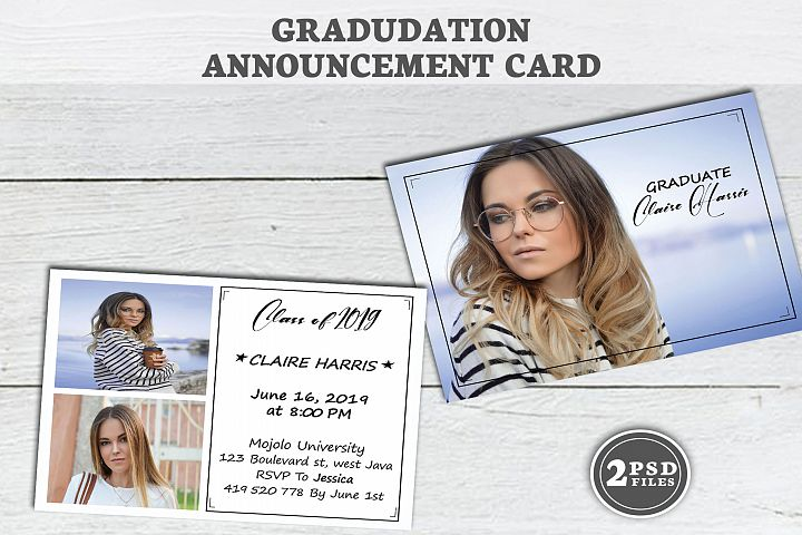 Graduation Announcement Template, annonce Senior carte,