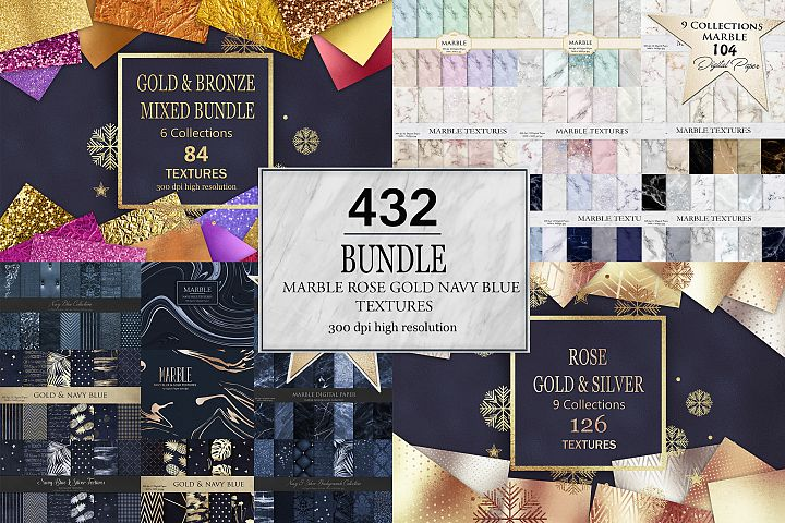 Marble Rose Gold Navy Blue Bundle 432 Textures