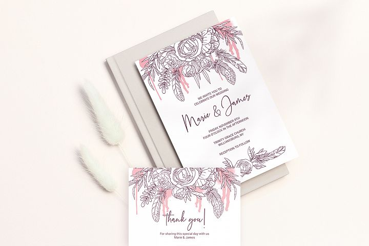 Boho Wedding Invitation Cards. Floral Printable Template example image 8