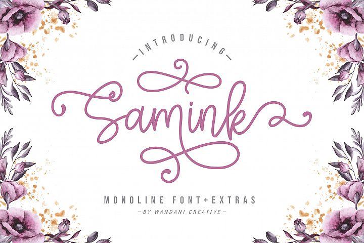 Samink Monoline font & Extras