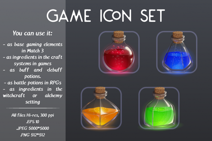 Magic bottles. Game icon set.