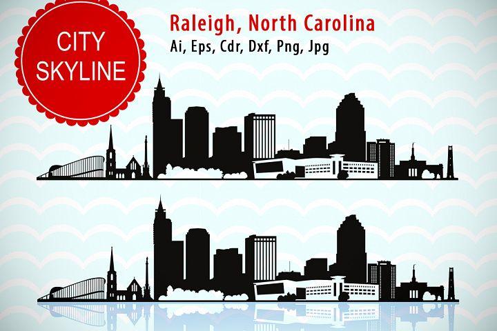 Raleigh City, North Carolina SVG Vector Skyline silhouette, USA city, SVG, JPG, PNG, DXF, CDR, EPS, AI.