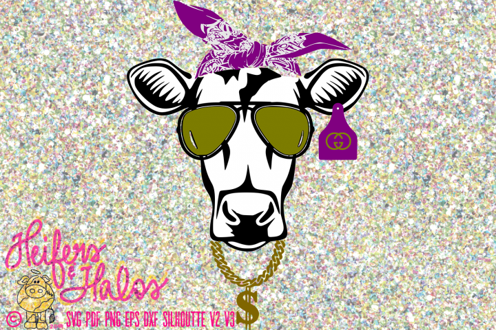 Cow with Bandana and Shades Cool Heifer