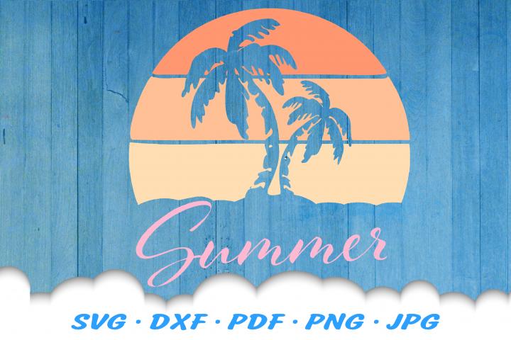 Summer Beach Sun Palms SVG DXF Cut Files