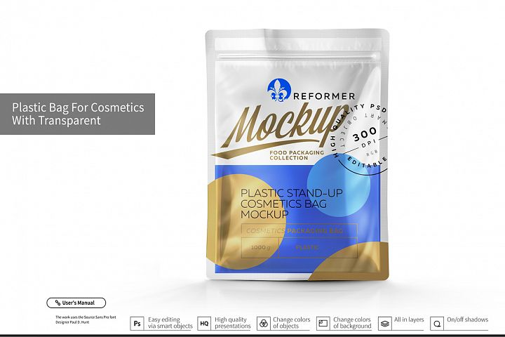 Plastic Bag for Cosmetics with Transparent