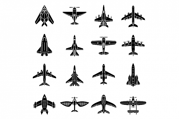 Airplane top view icons set, simple style