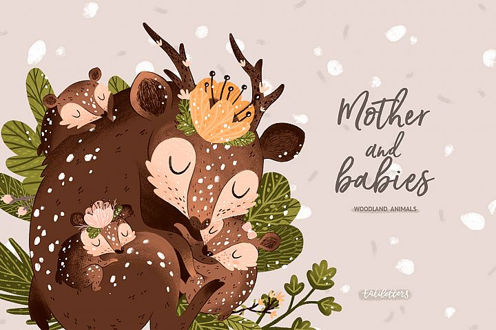 Mother and baby Woodland animals