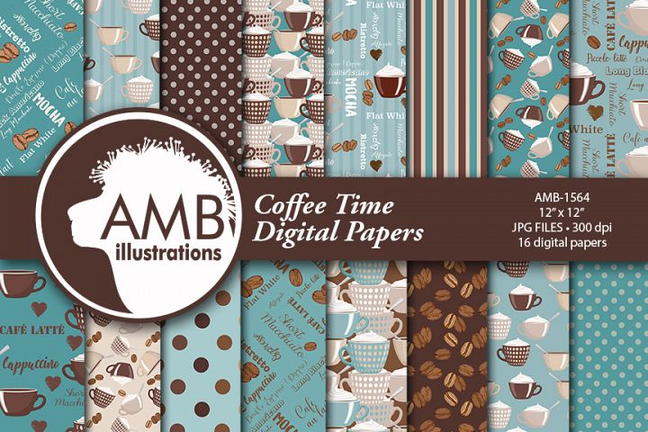 Coffee and friends in teal papers AMB-1564