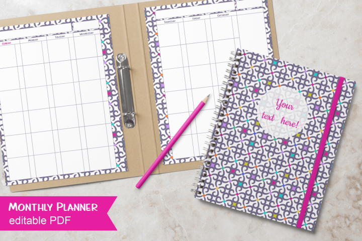 Monthly Planner Tiny Purple Pattern Letter Size Editable PDF