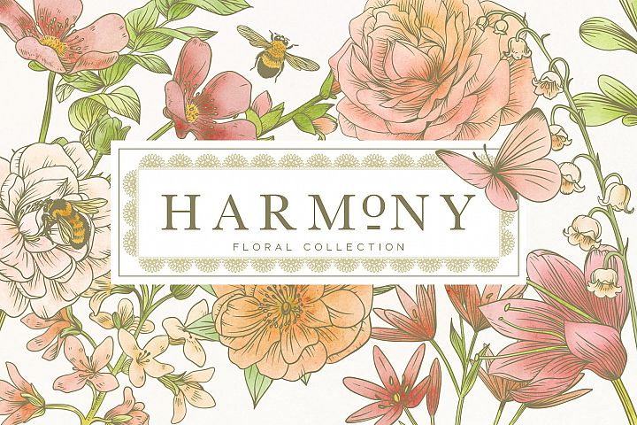 Harmony Botanical Floral Graphics Collection