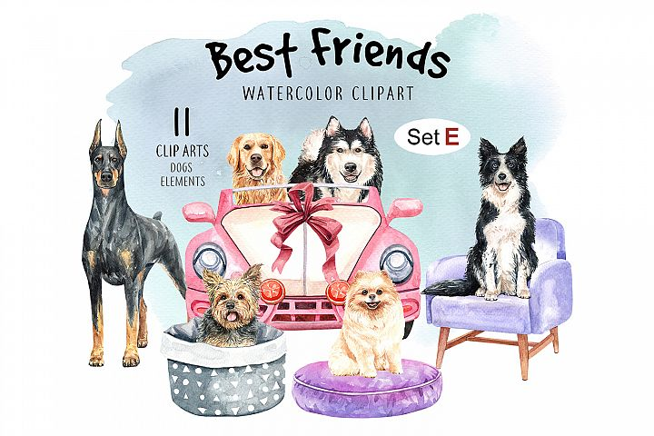 Dog clip art, Watercolor painting dog and toy set E