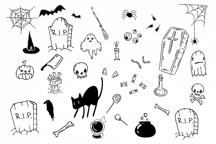 Halloween doodle icon set. Ghosts, black cat, bats, eyes.