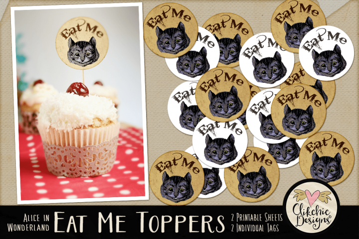 Alice in Wonderland Cheshire Cat Printable Cake Toppers
