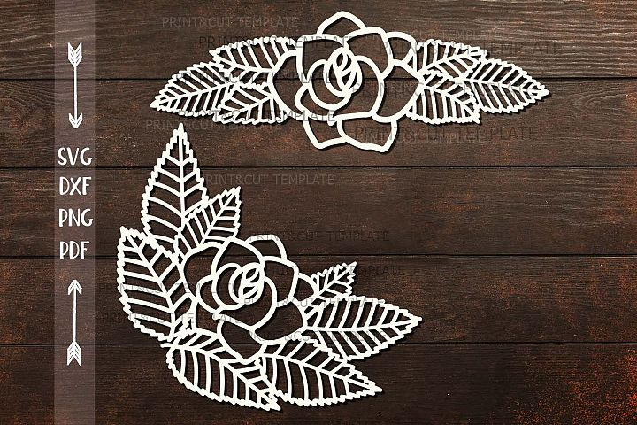 Rose Leaves Divider Border Corner paper cut svg dxf template