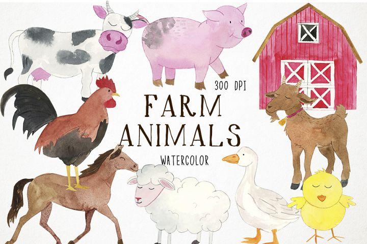 Watercolor Farm Animals Clipart, Farmyard Clipart