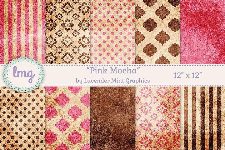 Pink and Brown Mocha Vintage Digital Scrapbooking Paper