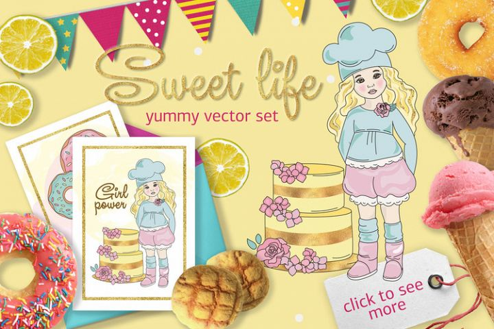SWEET LIFE Golden Color Vector Illustration Set