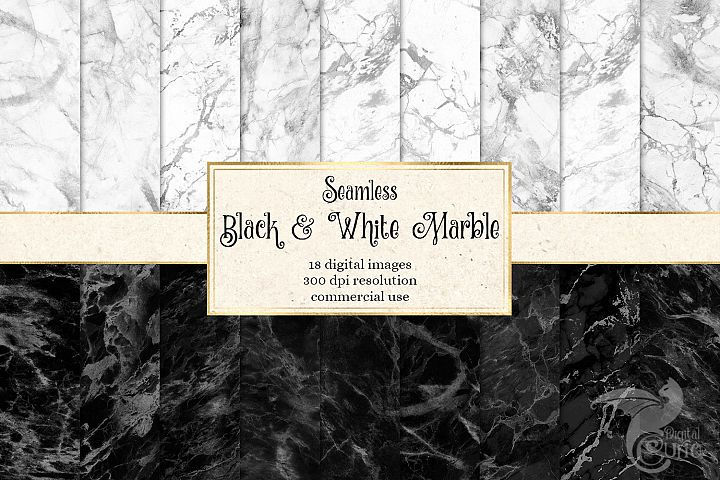 Black and White Marble Digital Paper