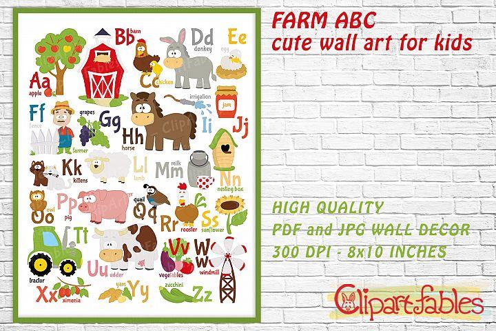 English FARM ABC, Alphabet, Barnyard - Cute wall decor