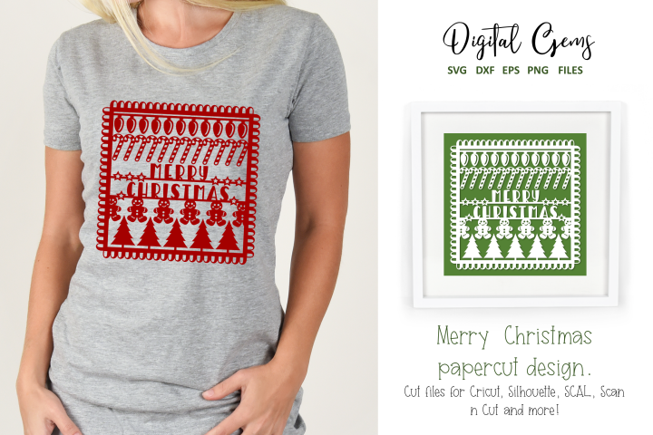 Merry Christmas paper cut design SVG / DXF / EPS / PNG files