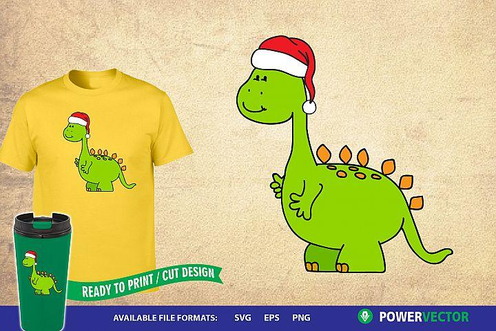 Cute Dinosaur Santa Claus Clipart |Dino Claus Vector