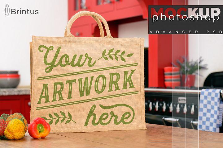 Photoshop mockup Burlap shopping-bag, tote bag, jute bag