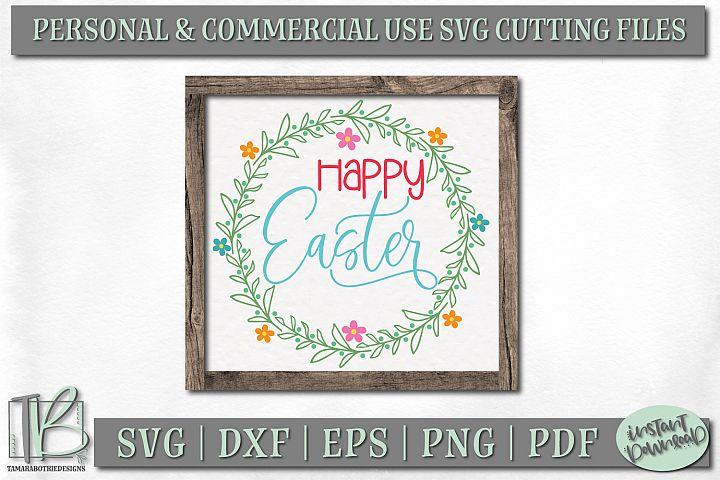 Easter Sign SVG File, Happy Easter SVG Cut File, Wreath SVG