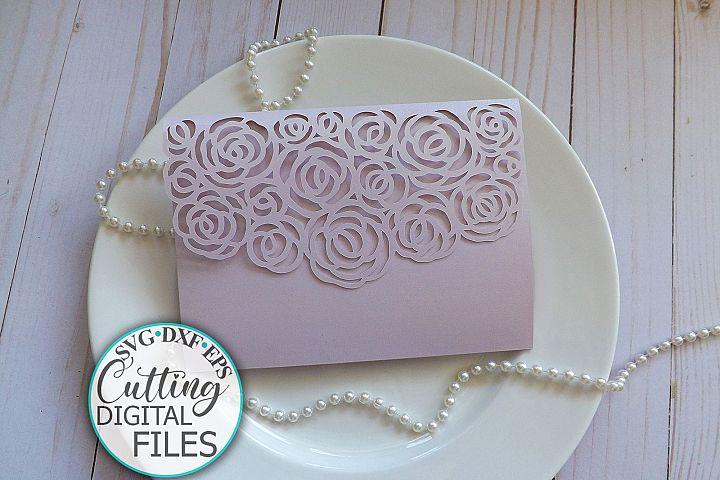 Roses Trifold Wedding Invitation Pocket Envelope svg laser