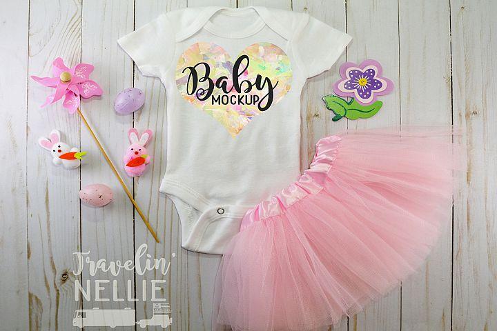 Baby Girl Easter Spring White Blank Bodysuit Mockup Flat Lay