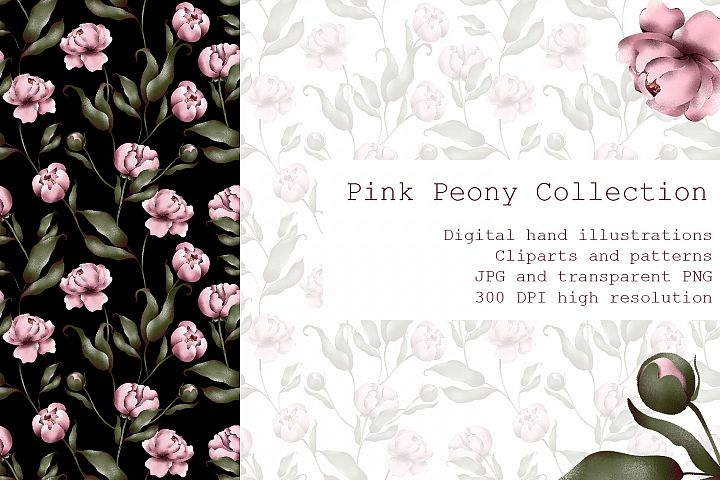 Pink peony collection for wedding invitation design.