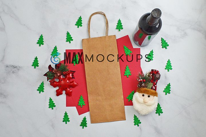 Wine bag Mockup, Christmas trees, styled photo display