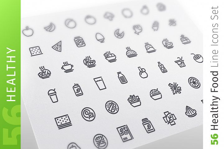 Healthy Food Line Icons Set