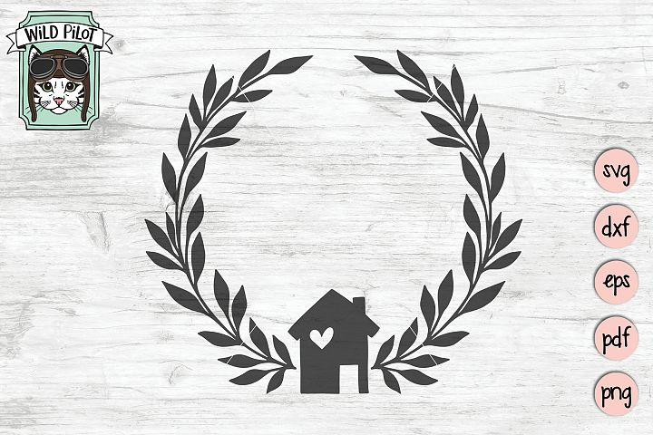 Home Wreath svg file, House cut file, Welcome Home, Realtor