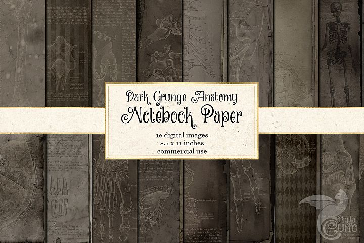 Dark Grunge Anatomy Notebook Paper