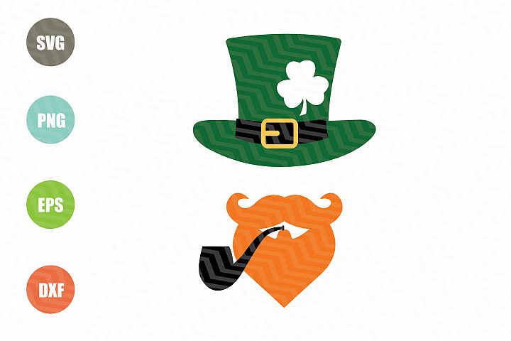 Beard and Hat St Patricks SVG Cut File