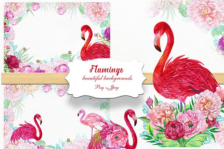 Flamingos and flowers backgrounds.Watercolor. Flowers,Tropic