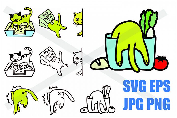 Cat in Action - SVG EPS JPG PNG