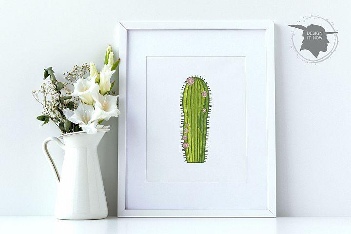 Cactus Botanical Art, Flower Embroidery Design, Plant example image 3