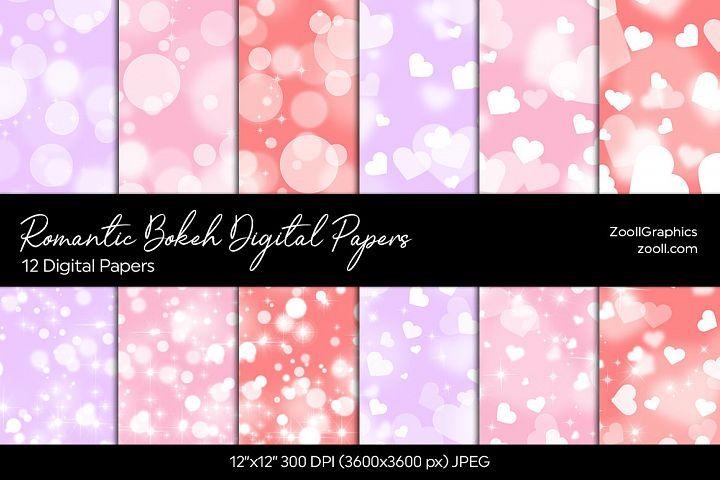 Romantic Bokeh Digital Papers