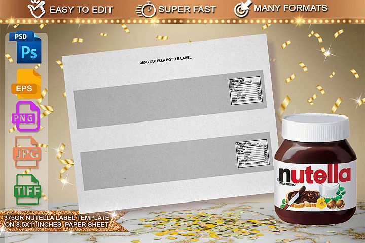 375g Nutella Jar Label Template