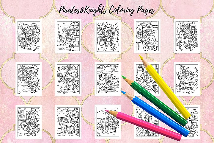 Coloring Pages For Kids - 15 Pirates and Knights example image 2