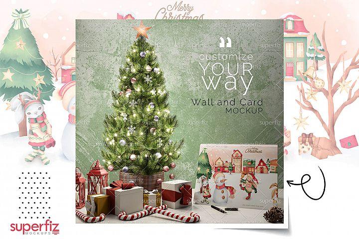 Christmas Mockup WALL & CARD surface SM106