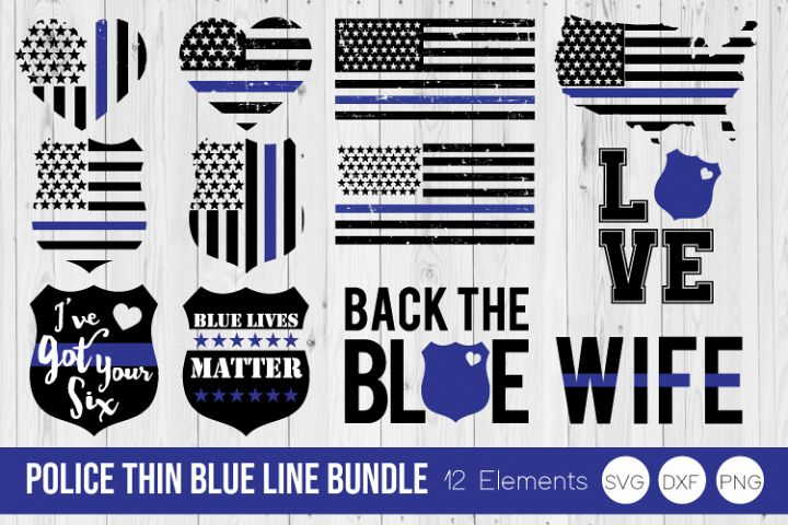 Police Thin Blue Line Bundle SVG DXF, PNG Cut Files